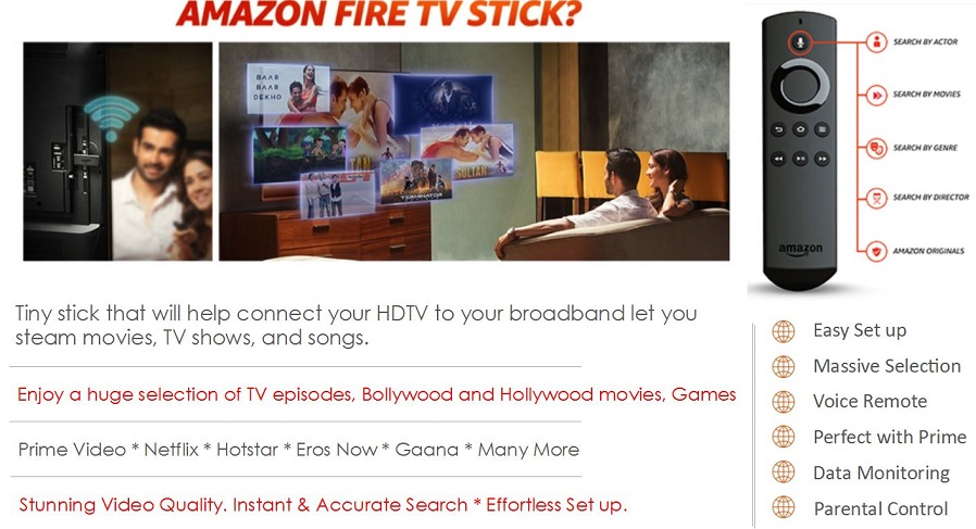 Buy Amazon Fire TV Stick with Voice Remote streaming Device Online