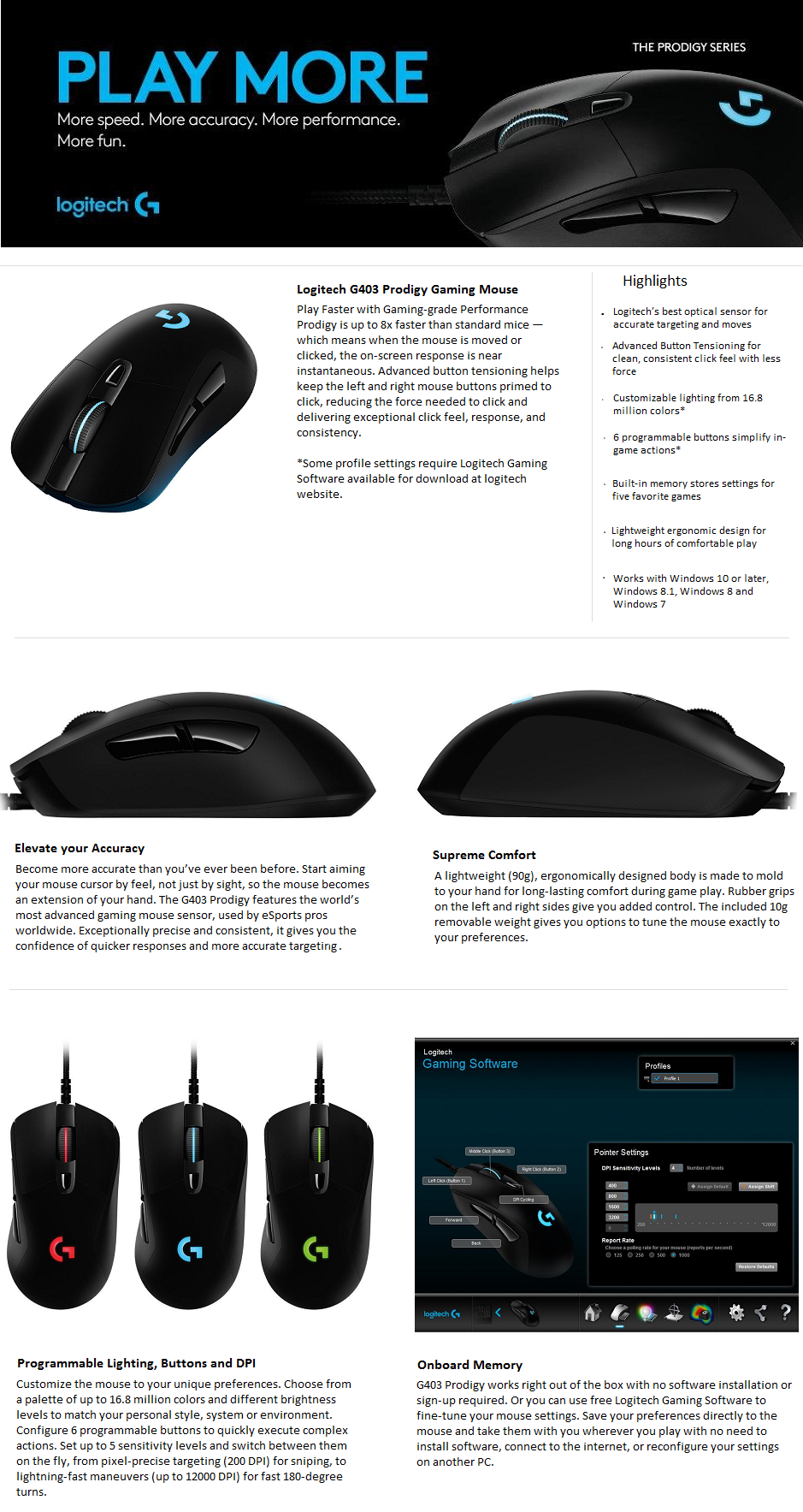 Buy Logitech Prodigy G403 Gaming Mouse (Black) (Wired