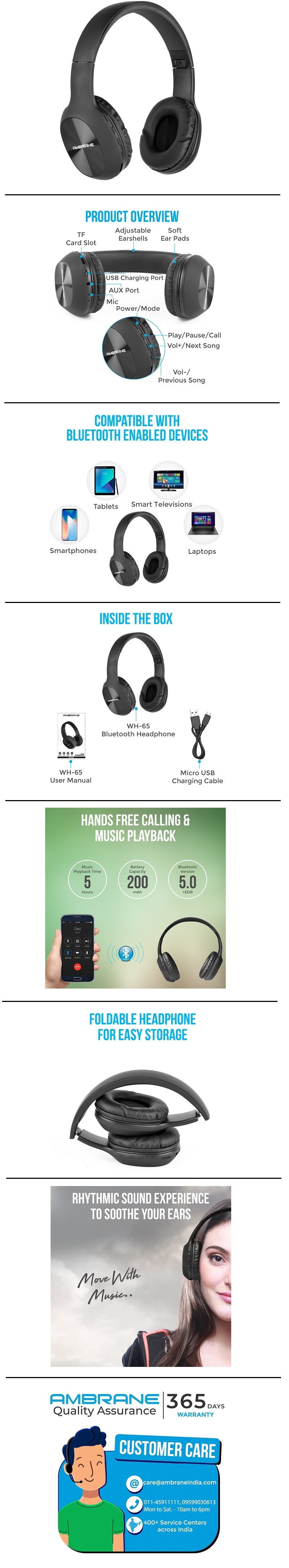 b1a25102c46 Buy Ambrane WH-65 Bluetooth Headphone with Mic Online at Low Prices ...